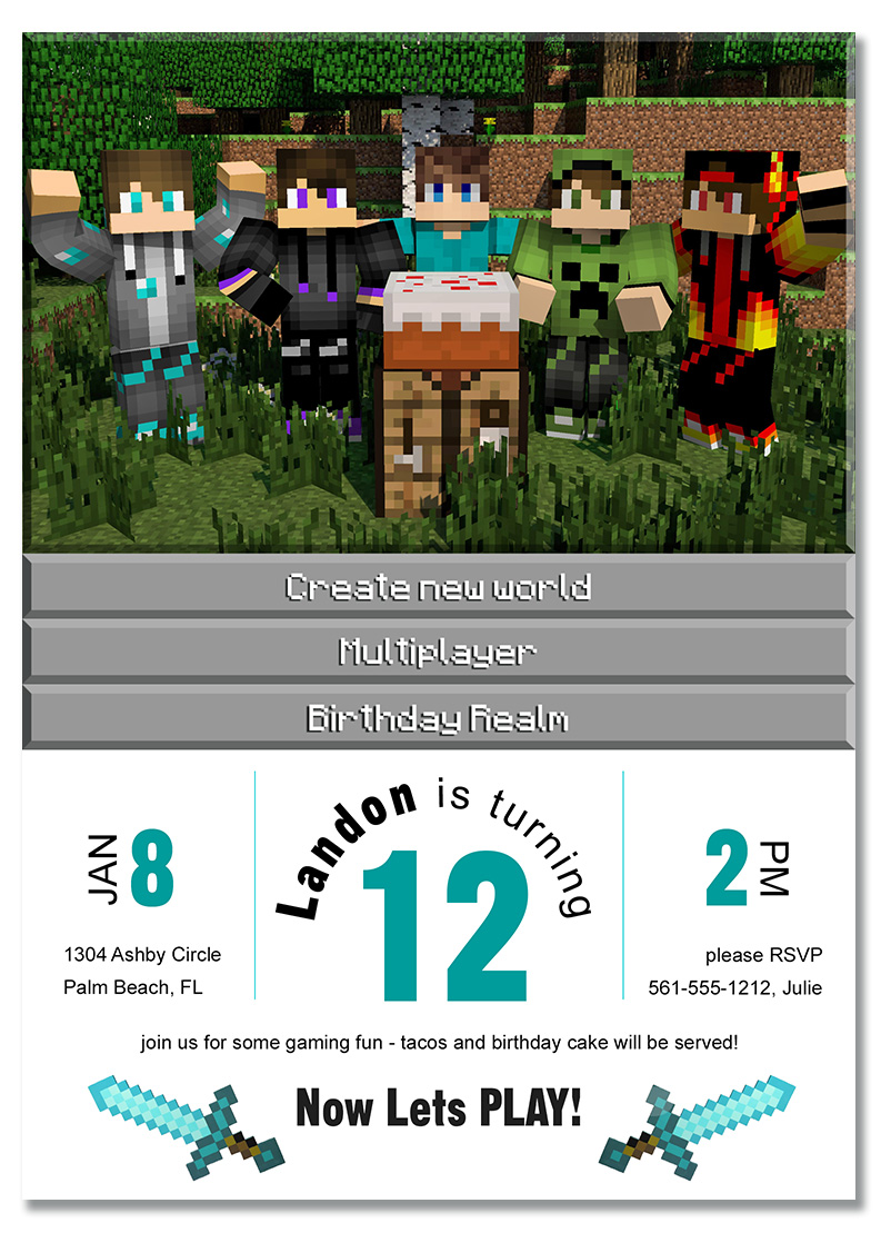 free minecraft steve birthday party invitation