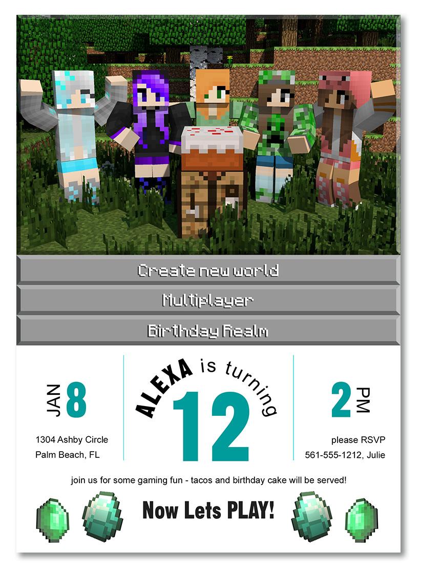 Minecraft birthday invitations helloderpy free printable minecraft invitation girls filmwisefo Image collections