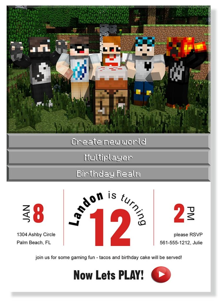 free DIY printable Minecraft birthday invitations