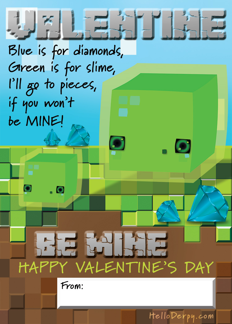Classroom Valentine - FREE- Minecraft themed featuring SLIME