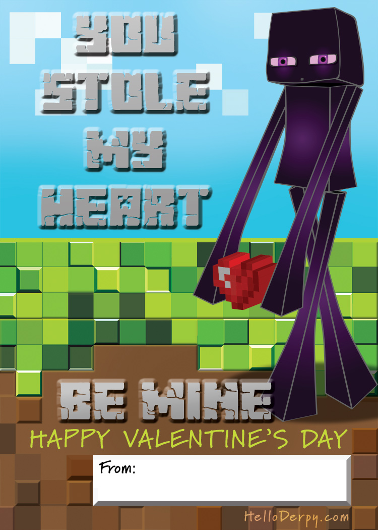 Minecraft Themed Classroom Valentines for Kids