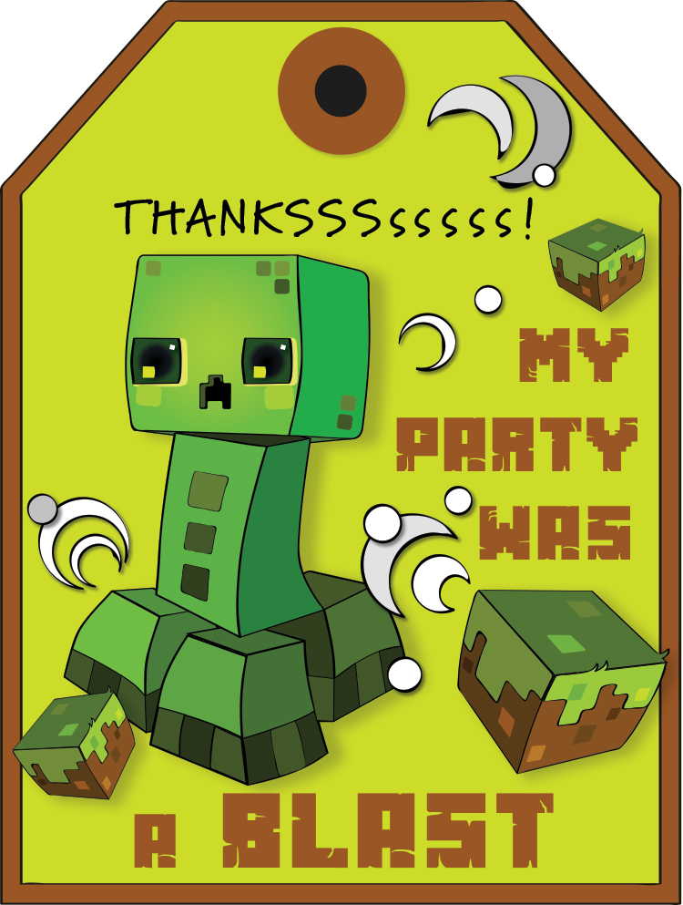 Free Minecraft Creeper Thank You Tag Printable