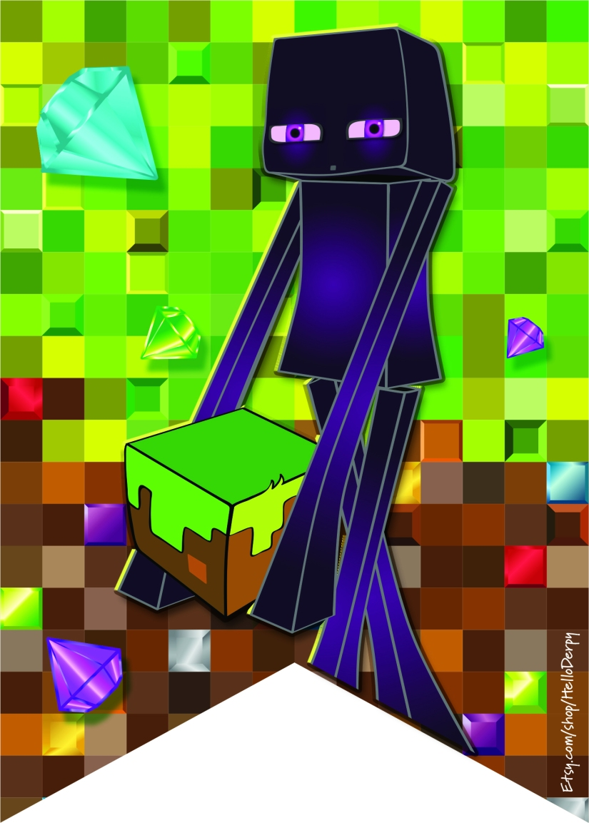 Free Printable Minecraft inspired Birthday Banner Enderman Bunting Flag