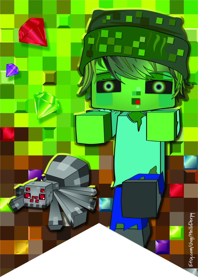 Free Printable Minecraft inspired Birthday Banner Zombie and Spider Bunting Flag