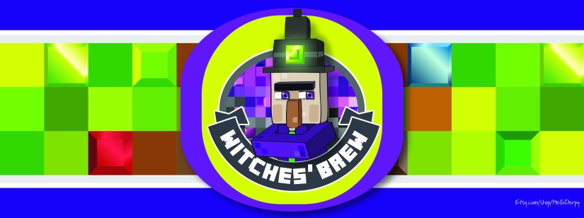 Minecraft inspired free printable Witches'Brew 2 Liter Soda Bottle Label for your Minecraft Brewing Stand